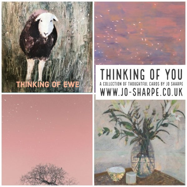 A set of 4 thinking of you cards by local Artist Jo Sharpe