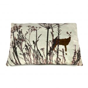 Deer in the Woods Cushion (silver/sage/aubergine)