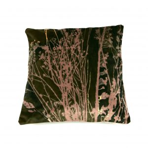 Seedheads Cushion (dark green and pink)