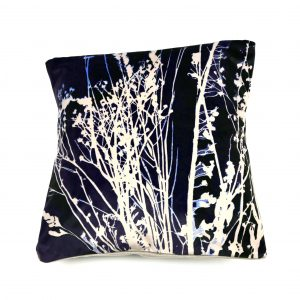 Seedheads Cushion (navy and cream)