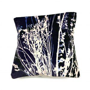 Seedheads Cushion (navy and cream)