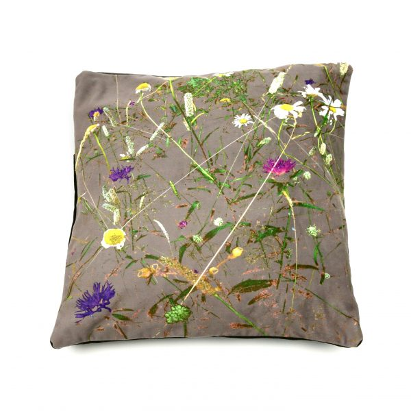 contemporary chintz floral cushion in mauve