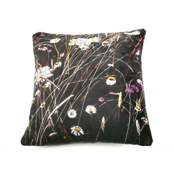 wild flowers art cushion dark green