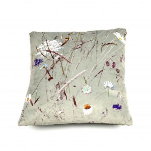 Bespoke Floral Art Cushion inspired by Oaks Park Meadow (silver sage)