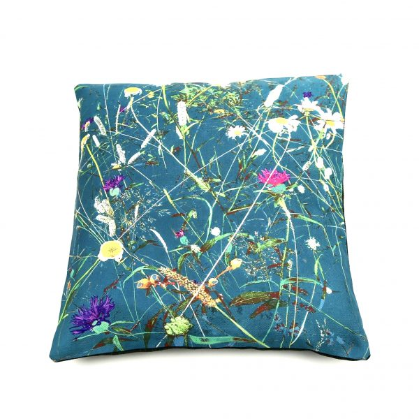 contemporary chintz floral cushion in teal