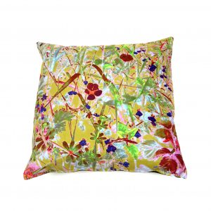 A contemporary botanical Art Cushion of a Cornish hedgerow  (ochre)