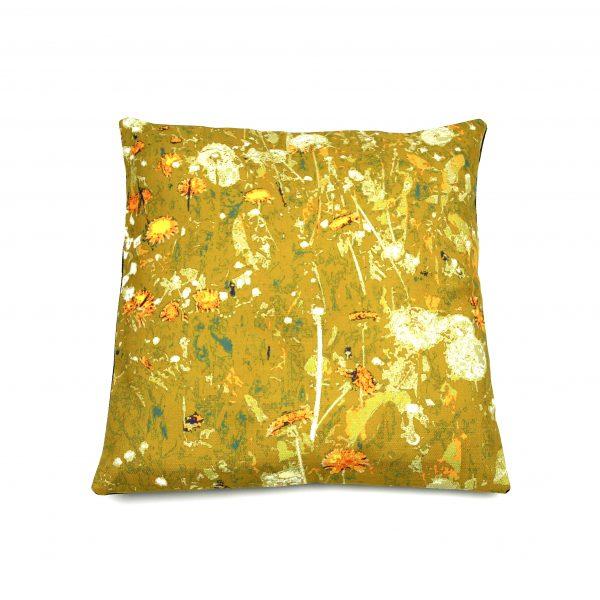 Dandelion velvet cushion mustard