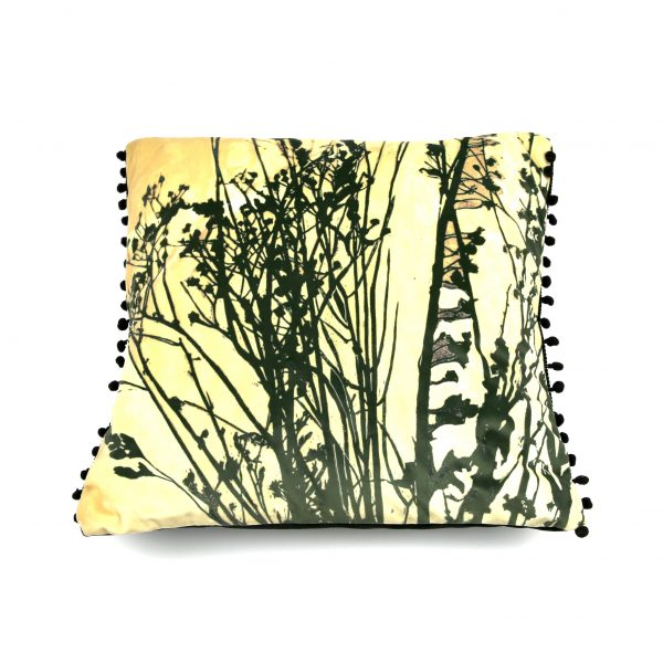 Designer black and gold seedheads cushion