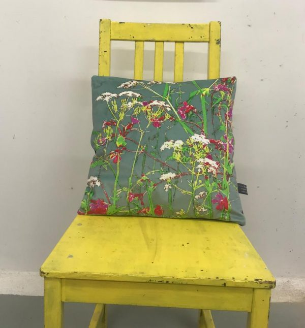 modern botanical cow parsley art cushion (duck egg)