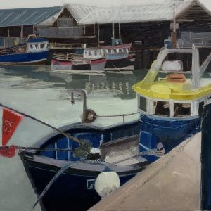 Whitstable Harbour boat painting, an original oil painting on canvas