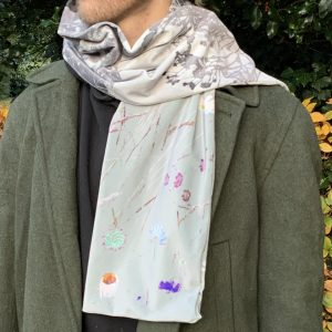 A luxurious silver velvet scarf with an original botanical design
