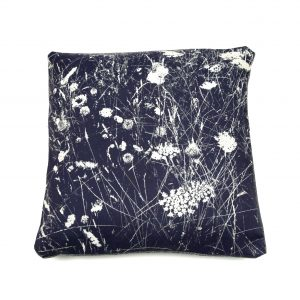 Bespoke Floral Art Cushion Inspired by Oaks Park Meadow (denim)