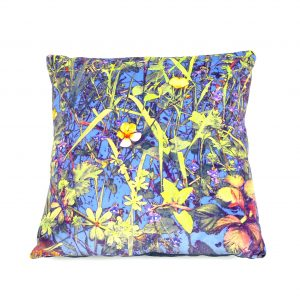 A Contemporary Botanical Art Cushion of a Cornish Hedgerow (blue)