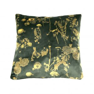 Dandelion Velvet Cushion (emerald and gold)