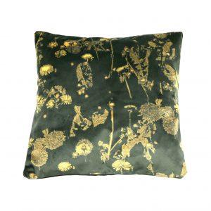 Dandelion Velvet Cushion (emerald and gold)