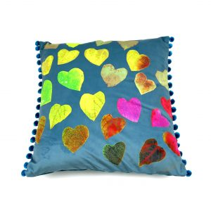 Rainbow hearts Art Cushion – Available in teal velvet 50x50cm