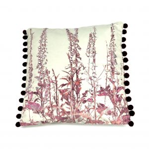 Foxgloves Cushion in duck egg blue inspired by a Cornish Hedgerow
