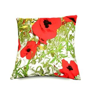 Bespoke Norfolk Poppy Flowers Cushion