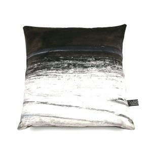 Grey and Black Seaside Cushion (grey velvet)