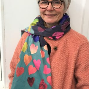 A colourful Valentine art scarf