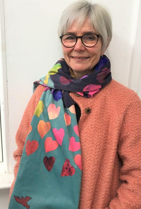 A colourful Valentine art scarf