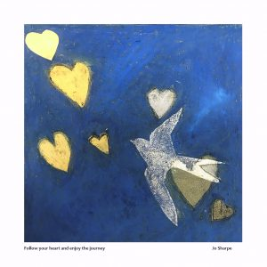Blue and gold heart art print – Follow your heart and enjoy the journey