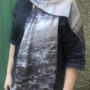 Grey textured silky scarf inspired by the sea