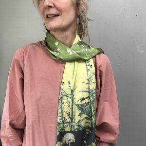 Modern botanical green scarf