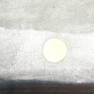 A neutral minimalist art print of the winter sun lighting up the Norfolk sky